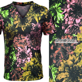 Tシャツ Vネック 花柄 ボタニカル リーフ リゾート 日本製 メンズ 半袖Tシャツ mens(ブラック黒ピンク桃) 170120