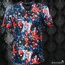 Tシャツ Vネック ムラ柄 宝石 メンズ 日本製 スリム ストレッチ 総柄 半袖Tシャツ(レッド赤ブルー青) 173307