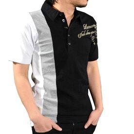 GD8 グラディエイト GLADIATE ポロシャツ カノコ 切替 刺繍 半袖 メンズ 英字 スキッパー mens(ブラック黒ホワイト白) 462845