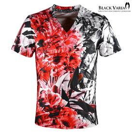 Tシャツ 花柄 ボタニカル柄 総柄 Vネック 半袖 スポーツ 機能性素材 速乾 mens(レッド赤) bv08