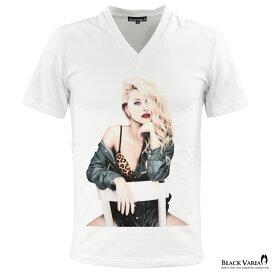 Vネック Tシャツ ガール セクシー レディ フォトプリント メンズ 半袖Tシャツ mens(ホワイト白) zkt008