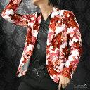 カットジャケット 花柄 薔薇 メンズ 日本製 1釦 ストレッチ 長袖 シングル ジャケット mens(ホワイト白レッド赤) 172750