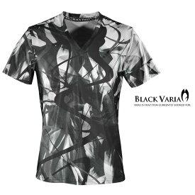 Tシャツ モダン柄 派手 ムラ 総柄 Vネック 半袖 メンズ mens(ブラック黒) bv11