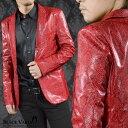テーラードジャケット パイソン柄 PUレザー メンズ 1釦 ノッチドラペル 合成皮革 ヘビ 日本製 レザージャケット mens(…