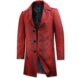 ロングコート チェスターコート ヘビ柄 蛇 パイソン柄 シングル 3ボタン アウター メンズ mens(レッド赤ブラック黒) 172758