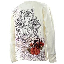 【Sale】からくり魂 絡繰魂 Tシャツ 和柄 梵字 メンズ 刺繍 千手観音菩薩 クルーネック 長袖Tシャツ mens(オフホワイト白) 281307