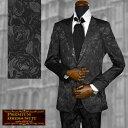 スーツ 花柄 薔薇柄 ジャガード 2ピーススーツ 日本製 結婚式 無地 ドレススーツ mens(ブラック黒) set1225