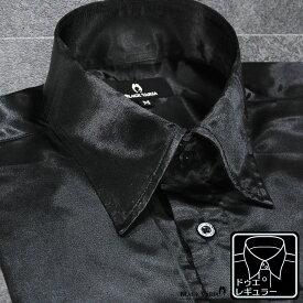 サテンシャツ ドゥエボットーニ 光沢 無地 レギュラーカラー 衣装 日本製 パーティー ドレスシャツ mens(ブラック黒) 171714