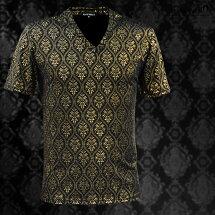 Tシャツアラベスク柄光沢メンズVネック光沢日本製エンボス加工細身立体半袖Tシャツ