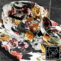 サテンシャツドゥエボットーニボタニカル柄花柄メンズスナップダウンジャガード日本製パーティードレスシャツ