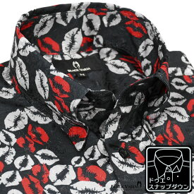 サテンシャツ ドゥエボットーニ キスマーク 唇 スナップダウン ジャガード ドレスシャツ メンズ mens(ブラック黒レッド赤グレー灰) 181113