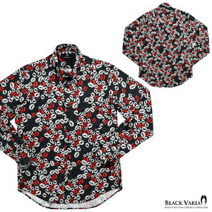 サテンシャツドゥエボットーニキスマークメンズレギュラーカラー日本製ジャガードパーティー唇ドレスシャツ