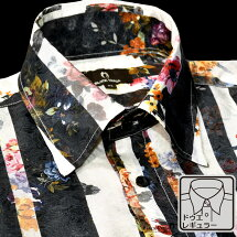 サテンシャツドゥエボットーニ花柄ストライプメンズレギュラーカラー日本製ジャガードパーティードレスシャツ
