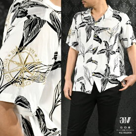 GD8 グラディエイト GLADIATE アロハシャツ メンズ 刺繍 ボタニカル 金糸 レーヨン 花柄 半袖 オープンシャツ mens(ホワイト白) 482054