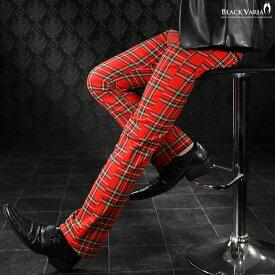 ロングパンツ タータンチェック ブーツカット メンズ 日本製 スリム ストレッチ ボトムス シューカット mens(レッド赤) 933745