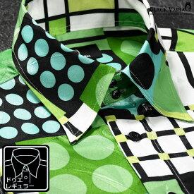 サテンシャツ ドゥエボットーニ 幾何学模様 レギュラーカラー ジャガード 日本製 衣装 ドレスシャツ メンズ mens(グリーン緑) 181705
