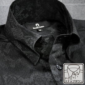 サテンシャツ ドレスシャツ ドゥエボットーニ パイソン 蛇 日本製 スナップダウン ジャガード パーティー メンズ mens(ブラック黒) 181711