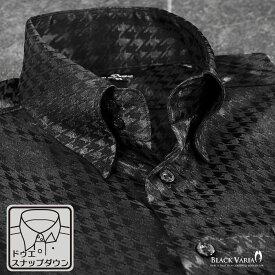 サテンシャツ ドゥエボットーニ チドリ 千鳥柄 スナップダウン ドレスシャツ ジャガード 光沢 パーティー メンズ mens(ブラック黒) 181712
