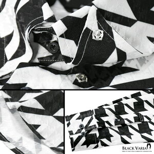 サテンシャツドゥエボットーニ千鳥柄スナップダウン大柄ジャガード日本製パーティードレスシャツ