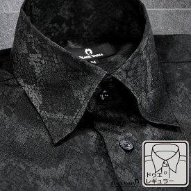サテンシャツ ドレスシャツ ドゥエボットーニ パイソン 蛇 日本製 レギュラーカラー ジャガード パーティー メンズ mens(ブラック黒) 181711