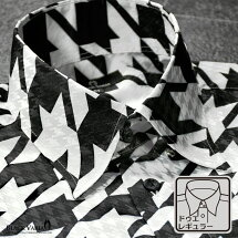 サテンシャツドゥエボットーニ千鳥柄レギュラーカラー大柄ジャガード日本製パーティードレスシャツ