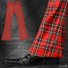 ベルボトム タータンチェック ブーツカット フレア メンズ ストレッチ 日本製 ボトムス パンツ mens(レッド赤) 182751