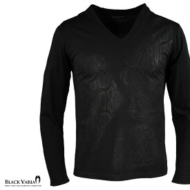 ブラックプリント Tシャツ 長袖 Vネック 蛇柄 ヘビ柄 アニマル柄 ロンT メンズ mens(ブラック黒) zkk056ls