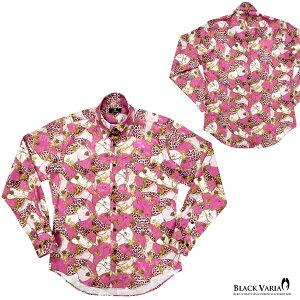 サテンシャツドレスシャツメンズドゥエボットーニチェーン柄豹柄レギュラーカラージャガード日本製パーティー