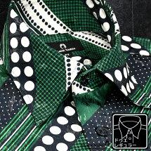 サテンシャツドレスシャツメンズドゥエボットーニ水玉ストライプレギュラーカラージャガード日本製パーティーmens
