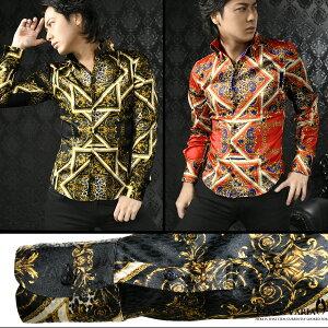 サテンシャツドレスシャツスキッパースカーフ柄ヒョウ柄ジャガードボタンダウンスリムパーティーメンズmens