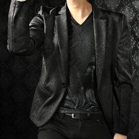 ジャケット テーラード 豹柄 ムラ メンズ レオパード 日本製 1釦 テーラードジャケット mens(ブラック黒) 182700