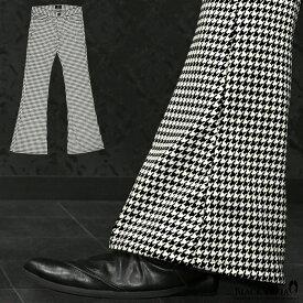 ベルボトム 千鳥柄 ブーツカット メンズ フレア 日本製 ローライズ ボトムス パンツ スリム mens(ホワイト白ブラック黒) 192256