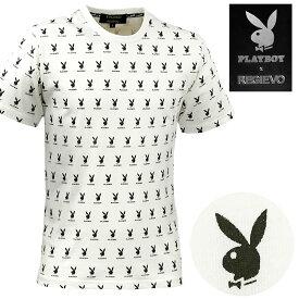 PLAYBOY プレイボーイ Tシャツ クルーネック ラビットヘッド メンズ 半袖 プリント ストレッチ mens(ホワイト白) 95143