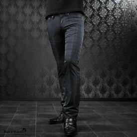 パンツ シャドーチェック シューカット ブーツカット メンズ 日本製 ジャガード 光沢 スリム ボトムス ロングパンツ mens(ネイビー紺) 933755
