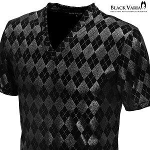 TシャツVネックアーガイルラメメンズ日本製ダイヤ柄ストレッチスリム半袖mens