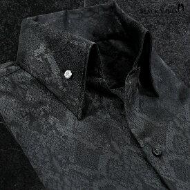 サテンシャツ ドレスシャツ スキッパー パイソン柄 蛇 日本製 ボタンダウン メンズ スリム 無地 パーティー mens(ブラック黒) 191250