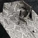 サテンシャツ ドレスシャツ スキッパー パイソン柄 蛇 日本製 ボタンダウン メンズ スリム 無地 パーティー mens(シルバー銀グレー灰) 191250