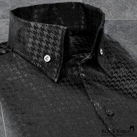 サテンシャツ ドレスシャツ スキッパー 千鳥格子柄 日本製 ボタンダウン メンズ スリム 無地 パーティー mens(ブラック黒) 191255