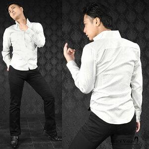 サテンシャツドレスシャツスキッパーヒョウ柄豹柄レオパード柄メンズジャガードボタンダウンスリム日本製無地mens