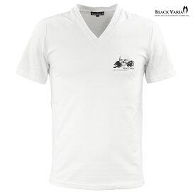 Tシャツ 半袖 スカル ドクロ ワンポイント Vネック スリム 細身 メンズ(ホワイト白) zkk067