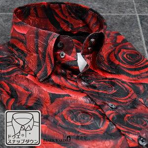 サテンシャツドレスシャツ薔薇大柄ドゥエボットーニスナップダウン日本製パーティージャガードメンズmens