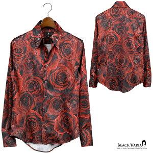 サテンシャツドレスシャツスキッパー薔薇日本製メンズボタンダウンスリムジャガードパーティーmens