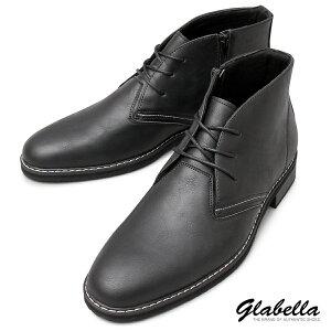 チャッカブーツ サイドジップ ミドルカット チャッカブーツ ショートブーツ 紐靴 シューズ メンズ(ブラック黒) glbb168