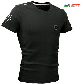 VIOLA rumore ヴィオラ ビオラ Tシャツ クルーネック リップルストライプ メンズ シンプル ストレッチ 半袖Tシャツ mens(ブラック黒) 01328