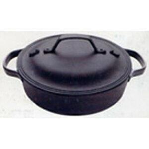 及源鋳造 南部鉄器 薪ストーブ IH対応 和モダン 煮込みハンバーグや蒸し焼きにも クックトップ 丸 浅型 大(24cm) (OIGEN)