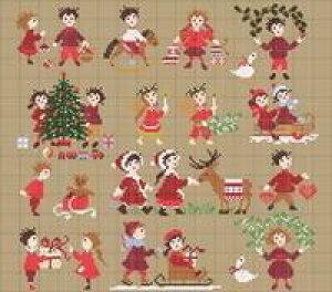 Happy Childhood collection - Christmas time・クロスステッチ 図案 チャート 刺繍 手芸*Perrette Samouiloff*ペレット サモイロフ