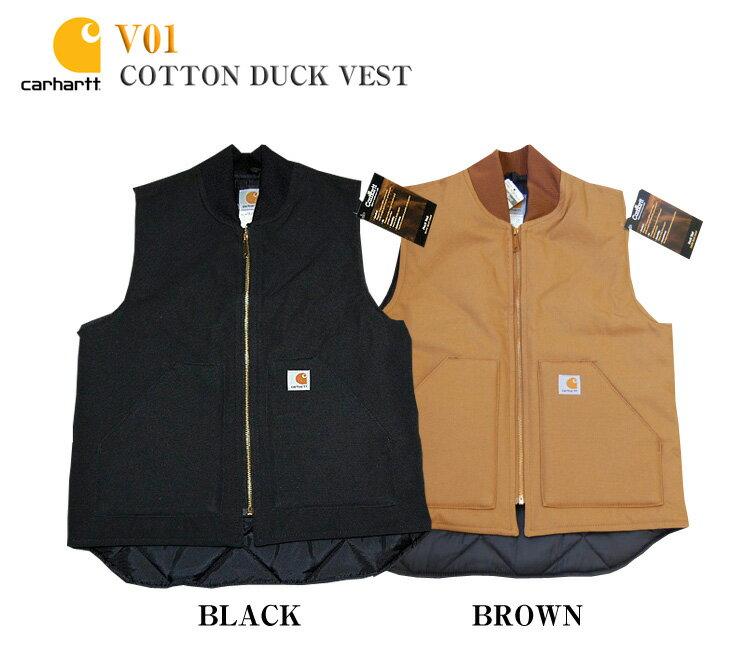 【送料無料】【Carhartt】V01 カーハート ダック ベストジャケットDuck Vest Arctic-Quilt Lined コットン
