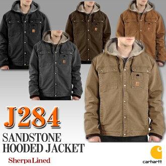 J284汽車心沙岩食物茄克外殻帕拉界內Men's Sandstone Hooded Multi Pocket Jacket Sherpa Lined