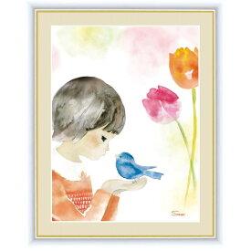 インテリアアート 榎本 早織(えのもと さおり) 青い鳥とチューリップ F6 [g4-ch013-F6] インテリア