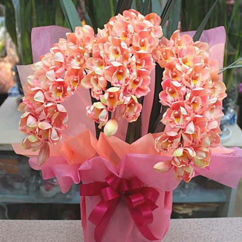 シンビジューム サーモンピンク色 3本立て 光触媒【造花】本物そっくり 花 ギフト